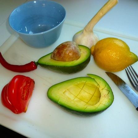 Zutaten für Guacamole